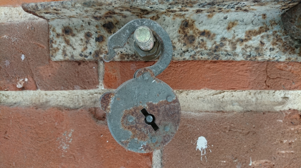 Old unlocked padlock